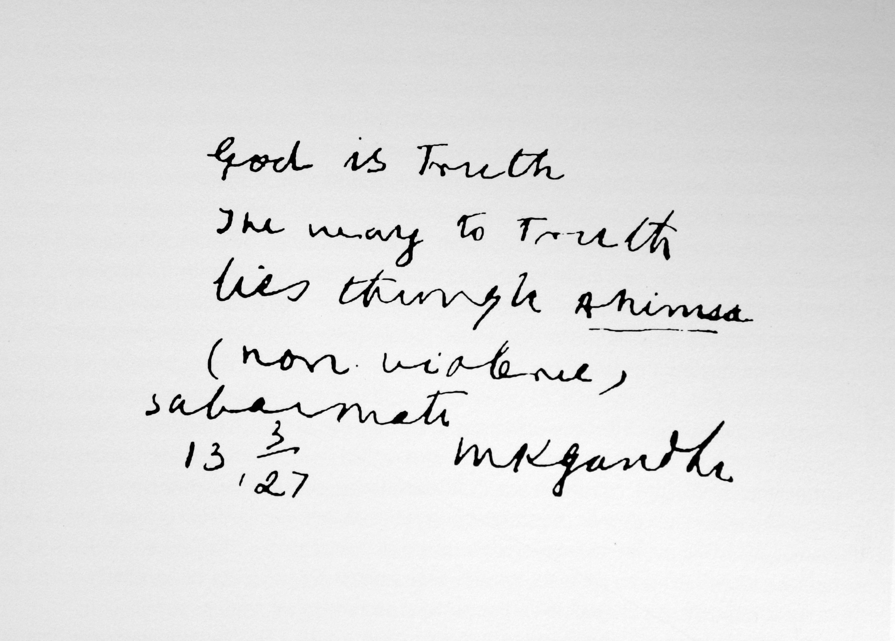 Mahatma Gandhi - handwriting