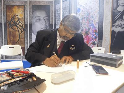 Ace calligrapher, Prof K C Janardhan – the Maestro -  with his Rytol Chairman's Pen