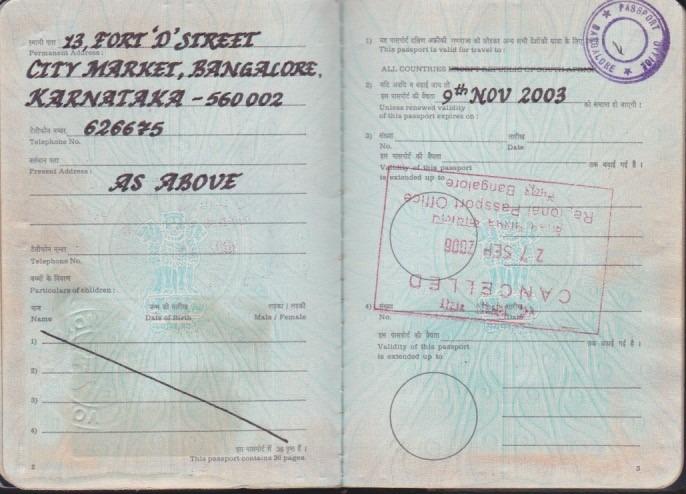 K C Janardhan - handwritten passport